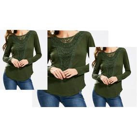 Blusa Verde Encaje De Crochet Al Frente Talle L Xl Especial