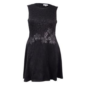 Calvin Klein Vestido Negro Gamuza Floral Encaje Talla 12