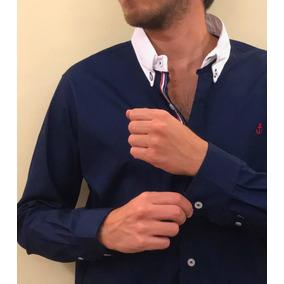 Camisa Marino, Cuello Color Blanco