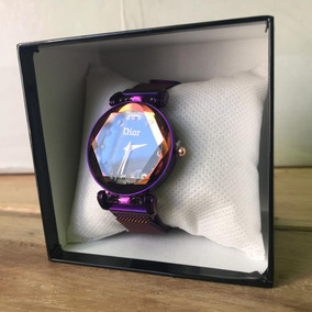 Reloj Dior Corte Diamante Violeta Negro Plata Dorado