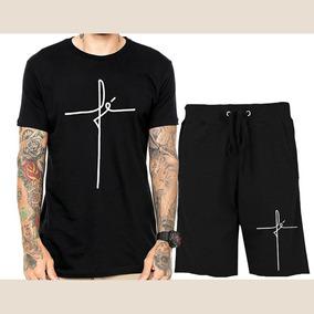 Kit Camiseta + Bermuda Moletom Fé Blessed The Hope Top Promo