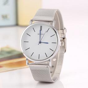 Reloj De Mujer Geneve Elegante Malla Inoxidable