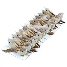 Passarinhos Artificiais Penas Naturais 7,5cm - 24 Unidades