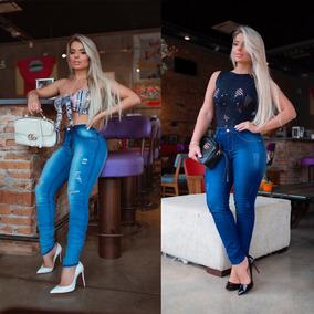 Kit 02 Calças Jeans Cintura Alta Levanta Bumbum Premium Luxo