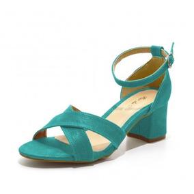 Sandália Trançada Salto Médio Azul Turquesa