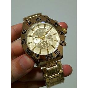 1418983ada8 Relógio Masculino Barato Dourado Metal Importado Luxuoso