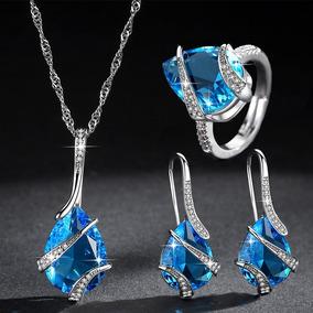 Conjunto De Anillo De Aretes De Collar Azul Marino