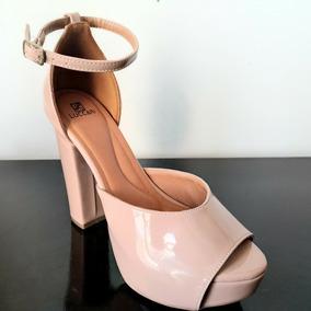 Sapato Meia Pata Salto Grosso Rose Nude Frete Gratis
