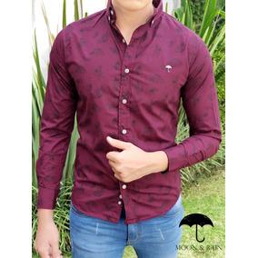 Camisa Slim Fit Vino Flores Negro Moon & Rain