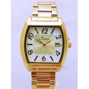 a9ef890e978 Relógio Condor Feminino Dourado Quadrado Calendário Co2115tf