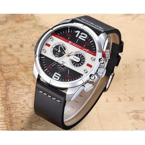 Relógio Curren Masculino Aço Inox Prata Preto Couro Vermelho