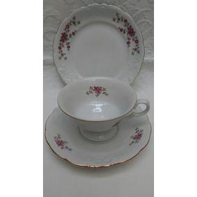 Trío De Té Porcelana Wawel Poland Flores Relieve Y Oro