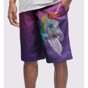 Bermuda Moletom Masculina Colorida Unicórnio Unicorn Tumblr