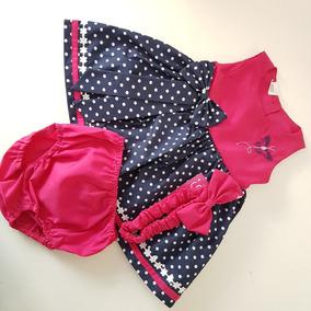 Vestido Ampon Para Bebe Con Calzon Y Valerina Color Fucsia