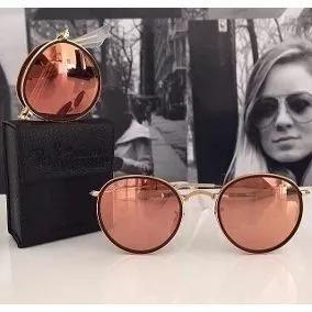 22c59bdf6827f Oculos Redondo Espelhado Rosa Dobravel - Óculos no Mercado Livre Brasil