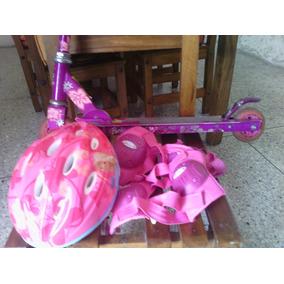 Monopatin Con Casco, Coderas Y Rodilleras Barbie Originales