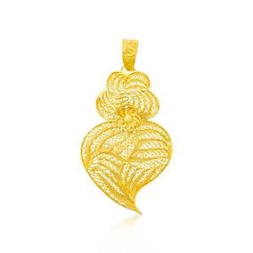 Pingente + Corrente Coração De Viana Em Prata 925 Dourada