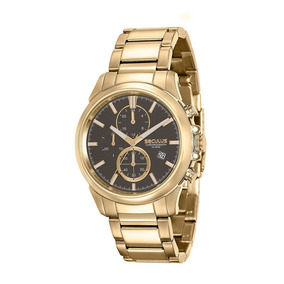 Relógio Masculino Seculus Cronógrafo Dourado 13023gpsvda1
