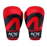 Luvas De Boxe E Muay Thai Vermelha Em Couro Pu Unissex Acte