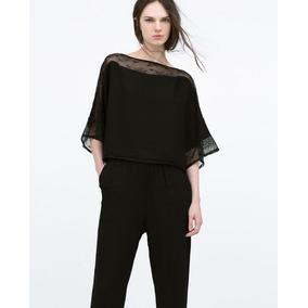 Mono Entero Negro Zara Talla S/38 Blusa Encaje Y Pantalón