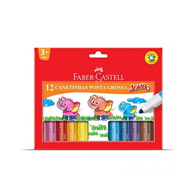 Canetinha Hidrocor Faber Castell Jumbo 12 Cores - 15.0212gzf