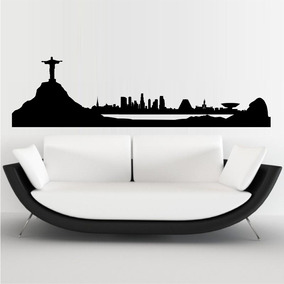 b1fde37b9b3 Adesivo De Parede Cidade Rio De Janeiro Cristo Redentor Sala