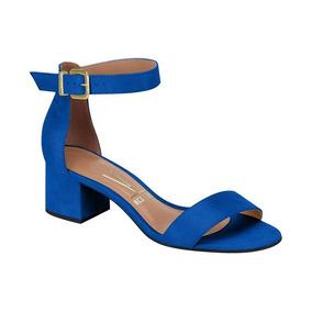 Sandália Feminina Vizzano Salto Grosso Camurça Azul 6291138
