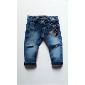 Calça Jeans Infantil Bebê Menino Listrada 1 À 18 Meses ac4d7442309