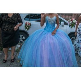 Vestido De Xv Años Hermoso Azul Con Rosa
