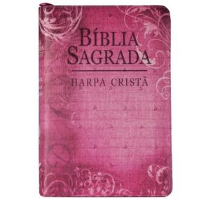 Bíblia Com Harpa Cristã Letra Grande Zíper Flores Rosa