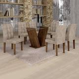 Sala Jantar Classic Tampo Vidro 6 Cadeiras Vitória Ef