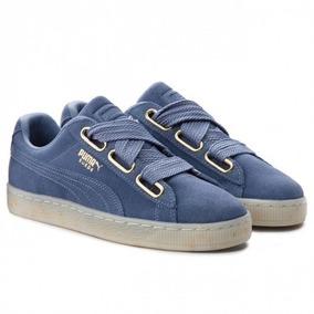 Tenis Dama Puma Heart Suede Azules Gamuza Sneakers Muy Cool