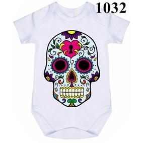 34b01858f6d88 Body Bebê Personalizado Caveira Mexicana Azul