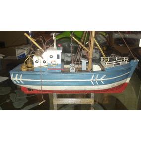 Barco Pescador De Madera Modelismo Naval Decorativo