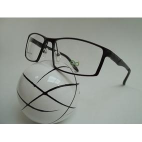 Armação Masculina Óculos P Grau Esportiva Aluminío Cor Preta 82f6005cd5
