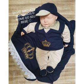 Kit Saída De Maternidade Príncipe Colete Coroa Marinho