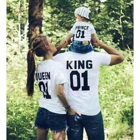 Conjunto 3 Prendas King Queen Prince Mama Papa E Hijo Algodo