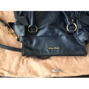 Bolsa Miu Miu!!! Piel Azul Semi Nueva 100% Original No Gucci 0761050c05