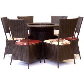 Conjunto Sala De Jantar Mesa E 6 Cadeiras Junco Sintético