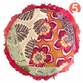 Set Con 5 Cojínes Decorativos Redondos · Patch · Fleco Ros