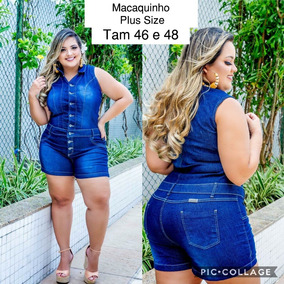 Macaquinho Jeans Plus Size Ref5555