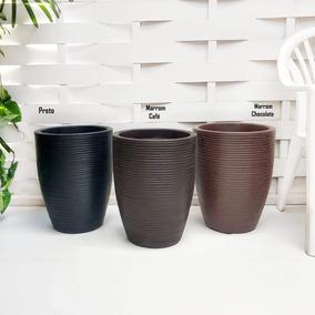 1 Vaso Planta Moderno Resina Plastico Polietileno R 45x35 Cm