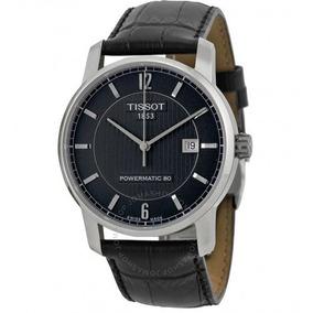 Relógio Tissot Powermatic 80 Preto/couro Automático Titânio