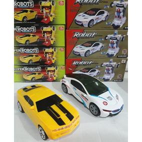 Kit 2 Carrinho Vira Robô Luz Som Transformers