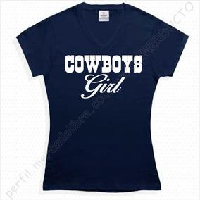 Playera Cowboys Girl Para Dama Cuello V Playera Vaqueros