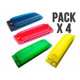 Pack X 4 Armonica Diatonica Hohner Colores 20 Voces En Do