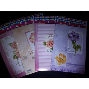 Lote C/4 Blocos De Papéis Papel De Carta Flor Flores