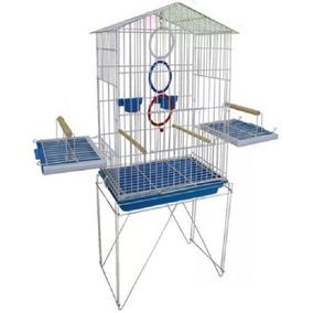 Acessórios Para Pássaros Viveiro C/ Poleiro E 2 Pote Ração