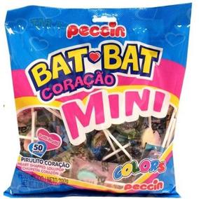 Kit C/ 12 Pirulito Peccin Bat Bat Coração Mini Colors