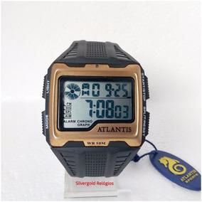 Relógio Masculino Digital Atlantis Quadrado Orig Pv Dagua